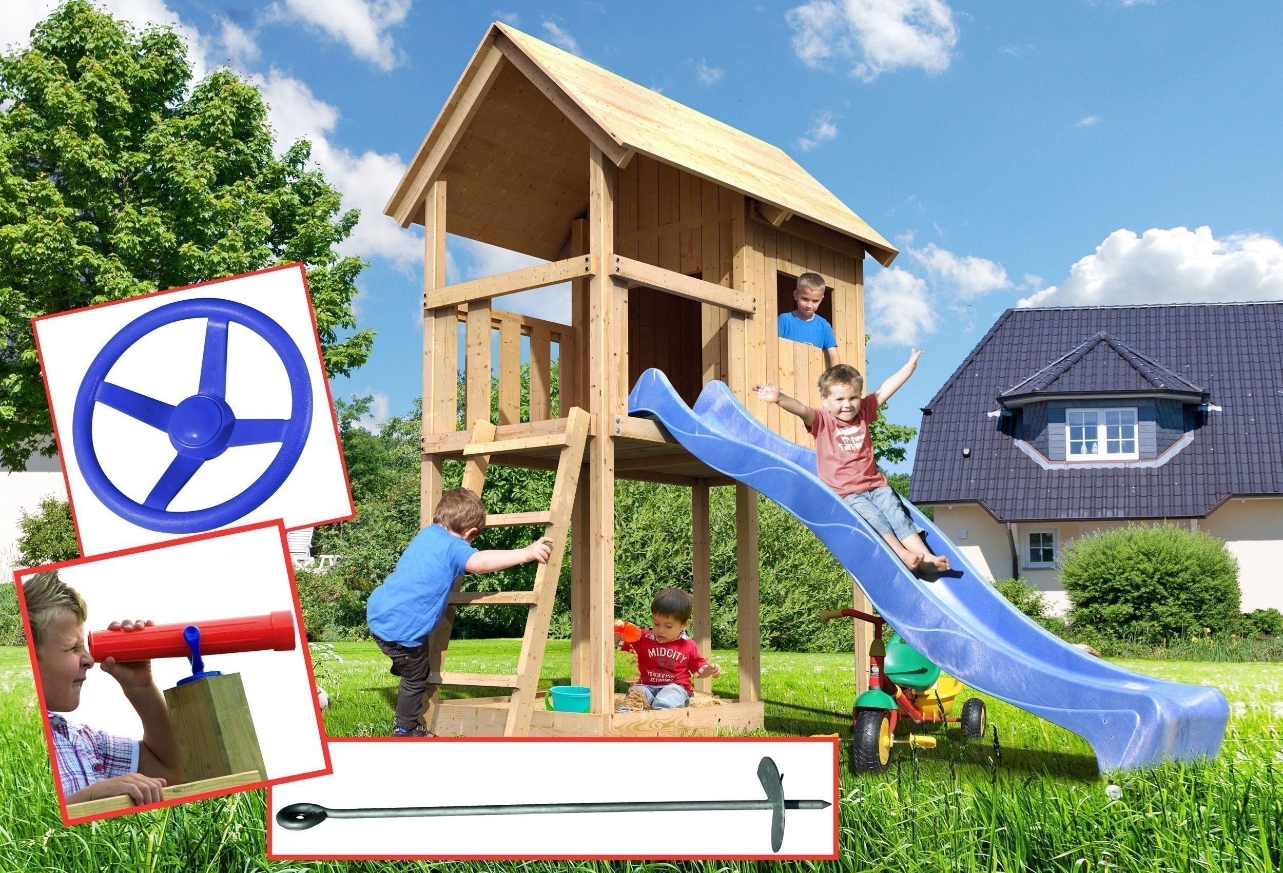 Spielturm Woodfeeling Fritz natur 107x202x291cm Sparset Bild 1