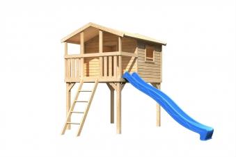 Stelzenhaus Karibu Akubi Benjamin Set A natur + Rutsche blau Bild 2