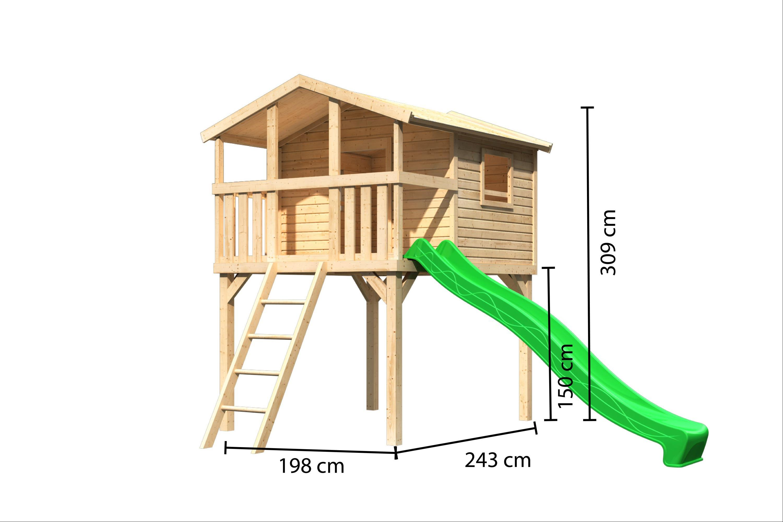 Stelzenhaus Karibu Akubi Benjamin Set A natur + Rutsche grün Bild 3