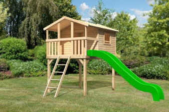 Stelzenhaus Karibu Akubi Benjamin Set A natur + Rutsche grün Bild 1