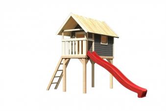 Stelzenhaus Karibu Akubi Gernegroß Set A terragrau + Rutsche rot Bild 2