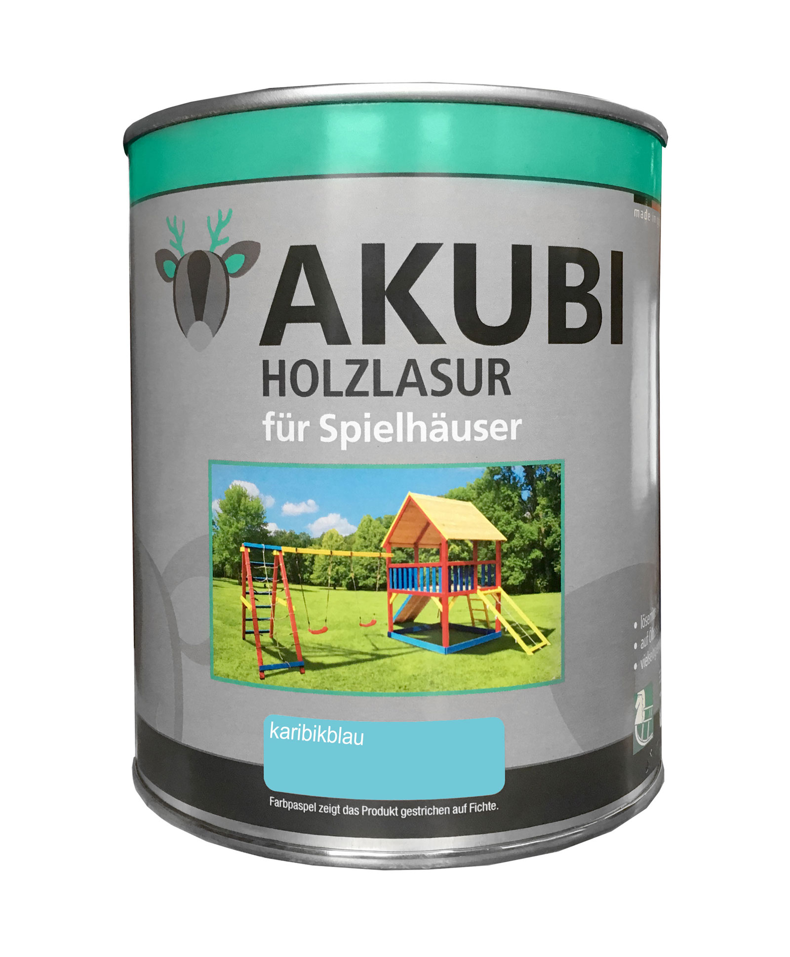 Karibu Akubi Holzlasur Set für Spielhäuser 750 ml karibikblau Bild 1