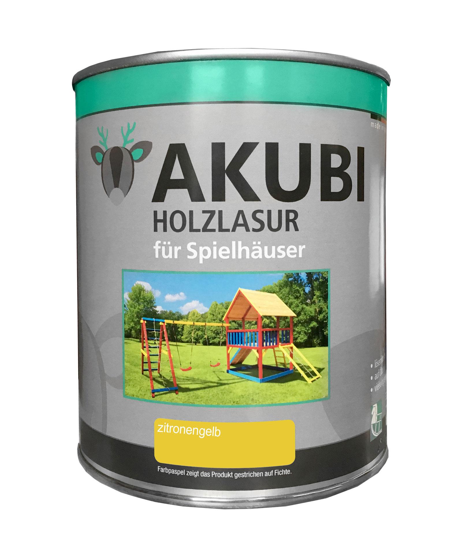 Karibu Akubi Holzlasur Set für Spielhäuser 750 ml zitronengelb Bild 1