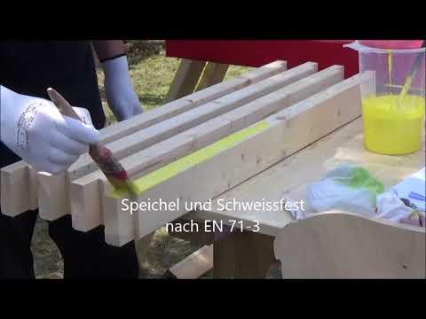 Karibu Akubi Holzlasur Set für Spielhäuser 750 ml zitronengelb Video Screenshot 2233