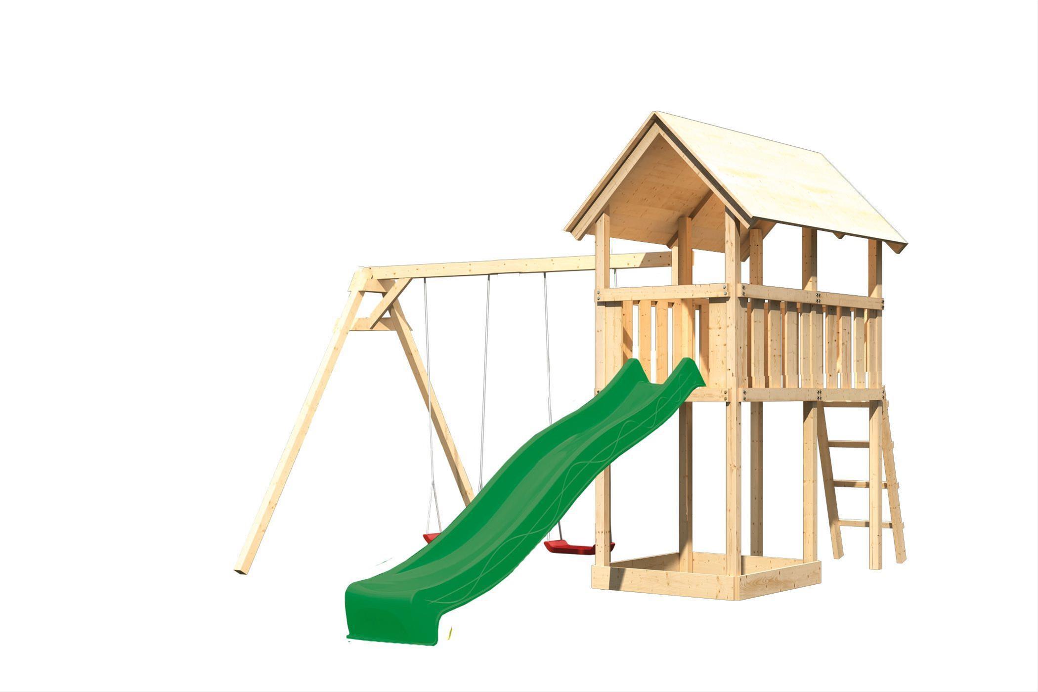 Spielturm Karibu Akubi Danny Set B Doppelschaukel +Rutsche grün Bild 2