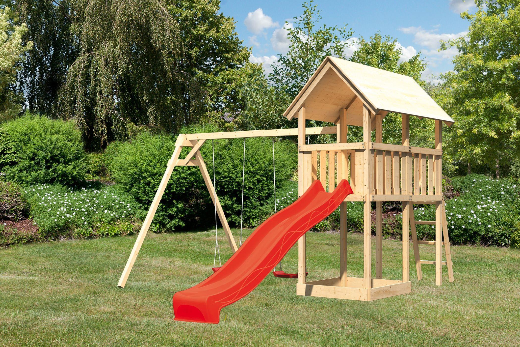 Spielturm Karibu Akubi Danny Set B Doppelschaukel +Rutsche rot Bild 1