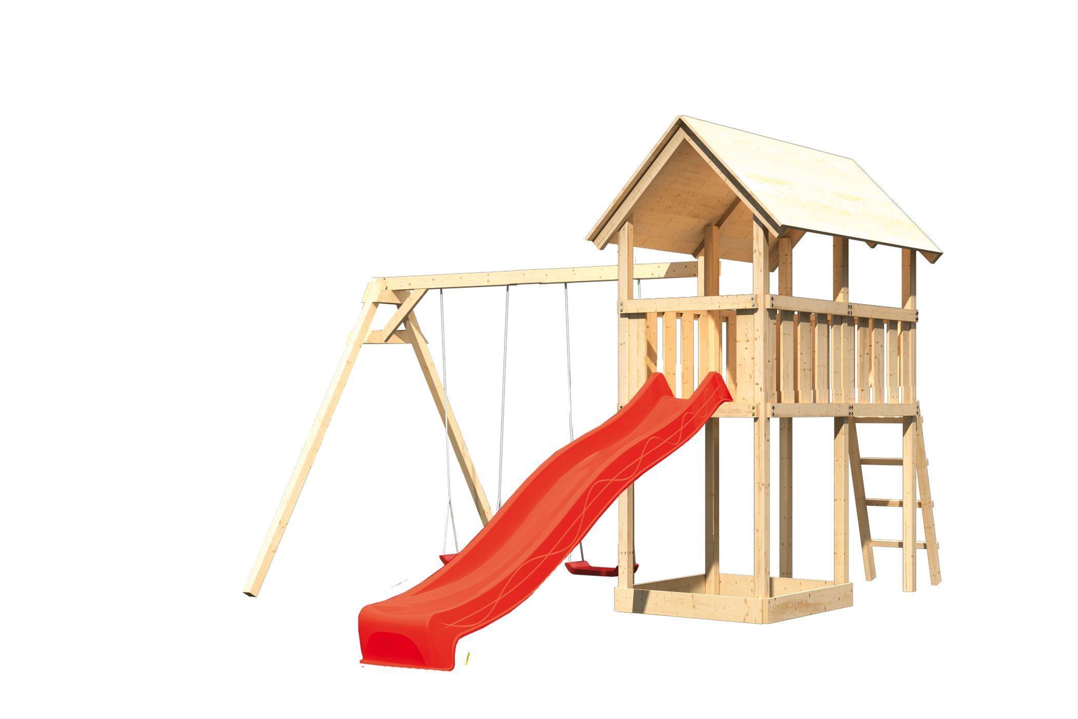 Spielturm Karibu Akubi Danny Set B Doppelschaukel +Rutsche rot Bild 2