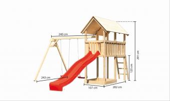 Spielturm Karibu Akubi Danny Set B Doppelschaukel +Rutsche rot Bild 3