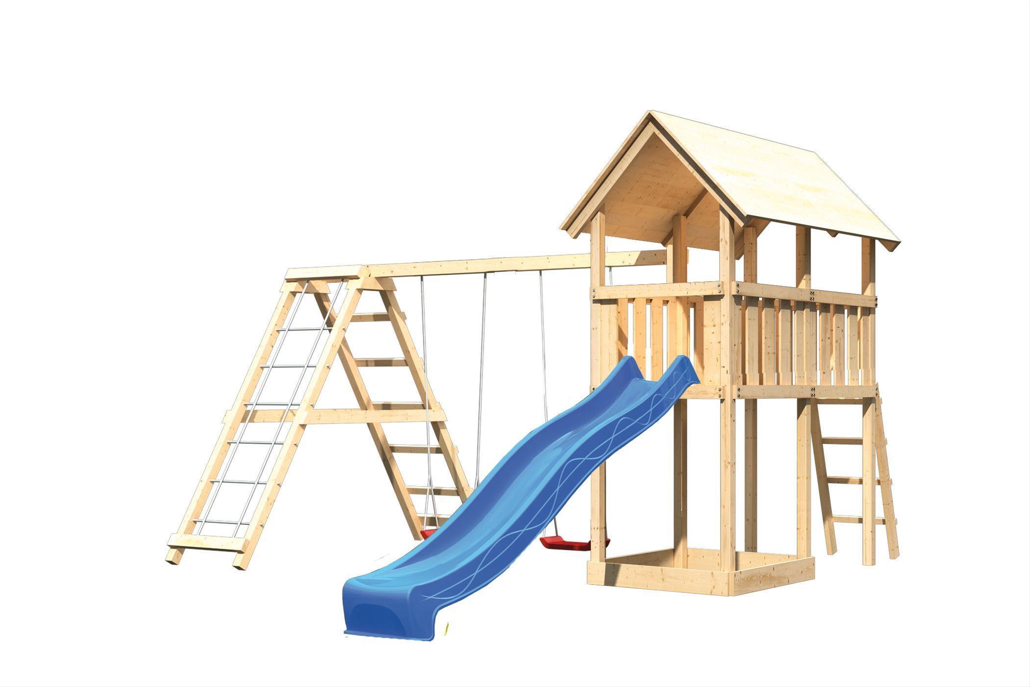 Spielturm Karibu Akubi Danny Set C Doppelsch./Kletterger./Rutsche blau Bild 2