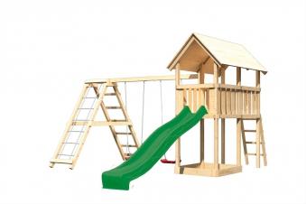 Spielturm Karibu Akubi Danny Set C Doppelsch./Kletterger./Rutsche grün Bild 2
