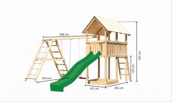 Spielturm Karibu Akubi Danny Set C Doppelsch./Kletterger./Rutsche grün Bild 3