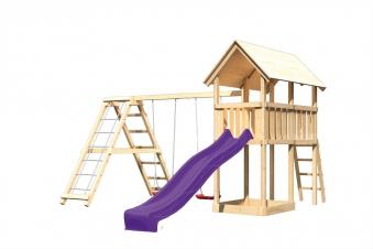 Spielturm Karibu Akubi Danny Set C Doppelsch./Kletterger./Rutsche lila Bild 2