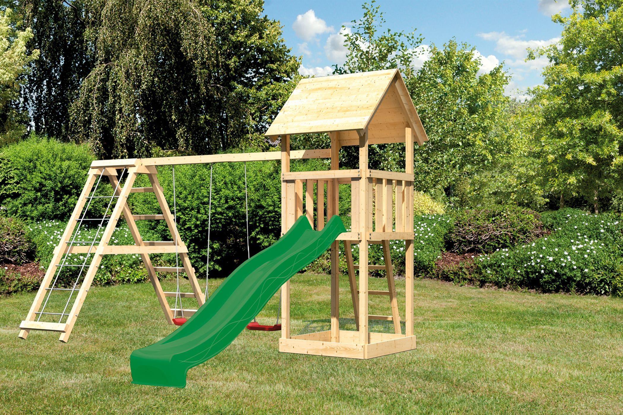Spielturm Karibu Akubi Lotti Set C Doppelsch./Kletterger./Rutsche grün Bild 1
