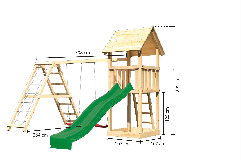 Spielturm Karibu Akubi Lotti Set C Doppelsch./Kletterger./Rutsche grün Bild 3