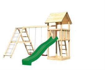 Spielturm Karibu Akubi Lotti Set C Doppelsch./Kletterger./Rutsche grün Bild 2