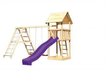 Spielturm Karibu Akubi Lotti Set C Doppelsch./Kletterger./Rutsche lila Bild 2