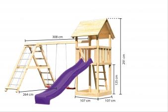 Spielturm Karibu Akubi Lotti Set C Doppelsch./Kletterger./Rutsche lila Bild 3