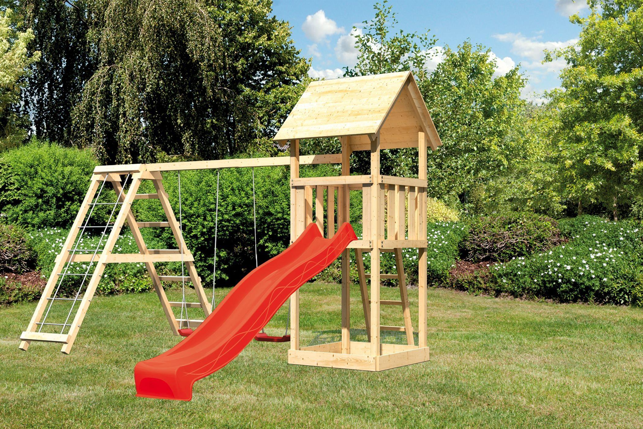Spielturm Karibu Akubi Lotti Set C Doppelsch./Kletterger./Rutsche rot Bild 1