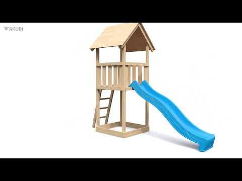 Spielturm Karibu Akubi Lotti Set C Doppelsch./Kletterger./Rutsche rot Video Screenshot 3086