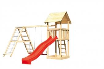 Spielturm Karibu Akubi Lotti Set C Doppelsch./Kletterger./Rutsche rot Bild 2