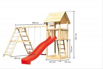 Spielturm Karibu Akubi Lotti Set C Doppelsch./Kletterger./Rutsche rot Bild 3