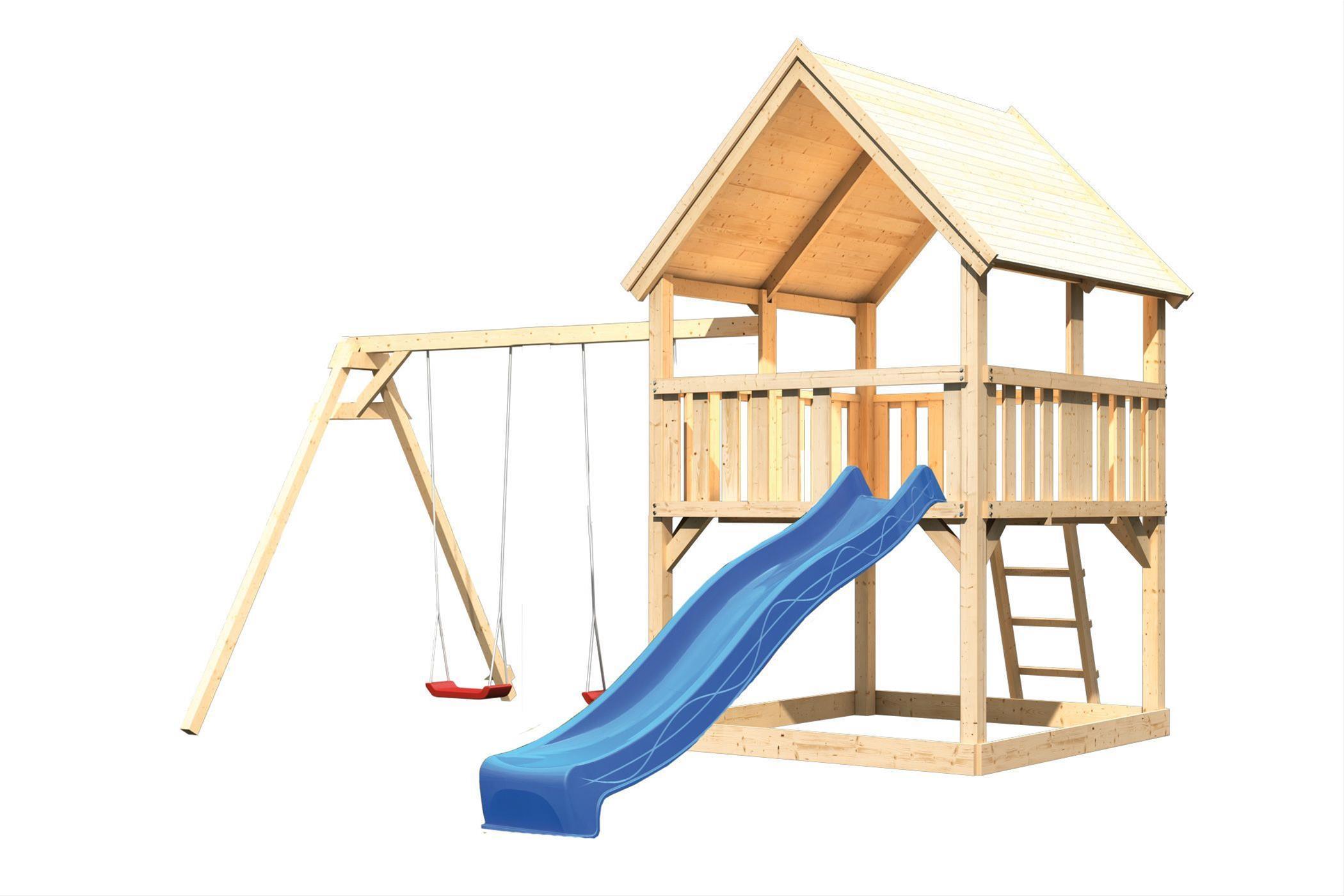Spielturm Karibu Akubi Luis Set B Doppelschaukel + Rutsche blau Bild 2