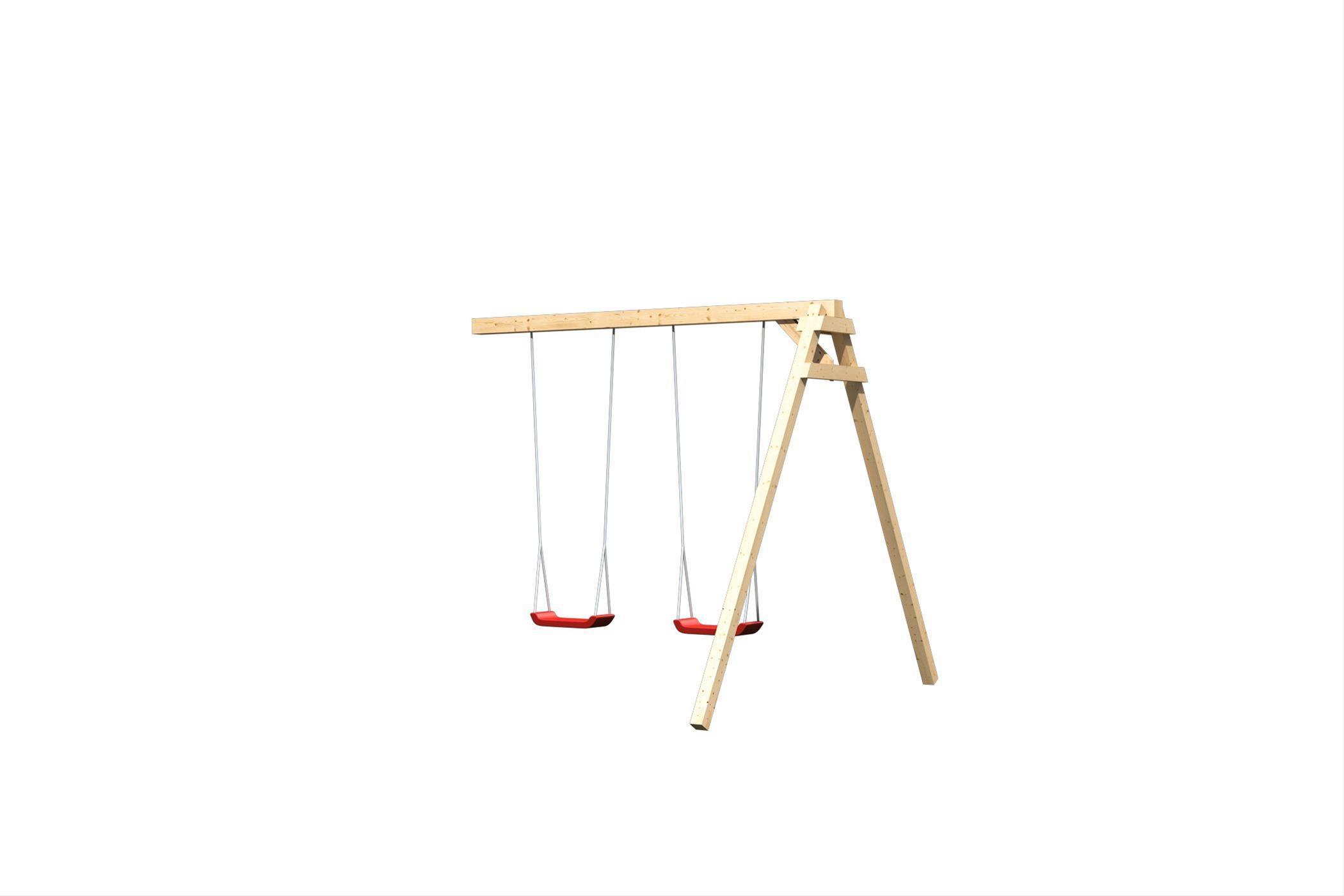 Spielturm Karibu Akubi Luis Set B Doppelschaukel + Rutsche blau Bild 5