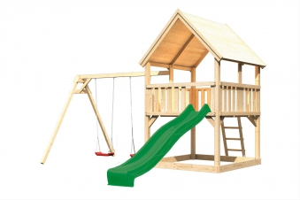 Spielturm Karibu Akubi Luis Set B Doppelschaukel + Rutsche grün Bild 2