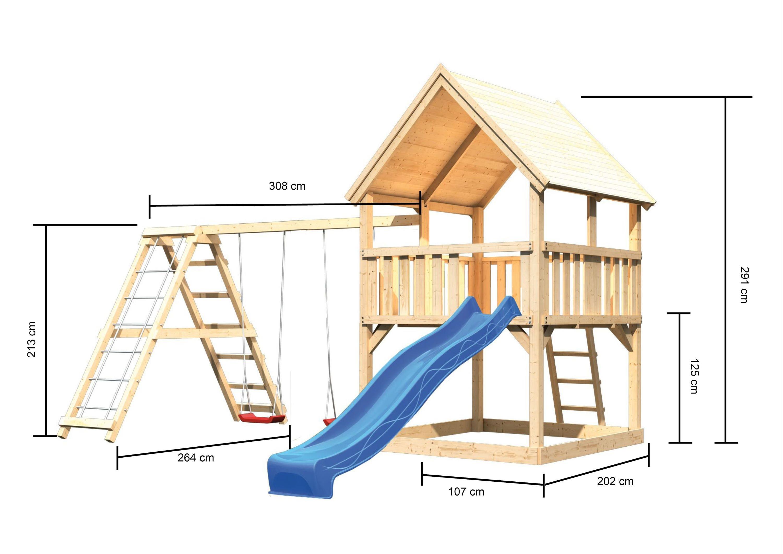 Spielturm Karibu Akubi Luis Set C Kletterger./Doppelsch./Rutsche blau Bild 3