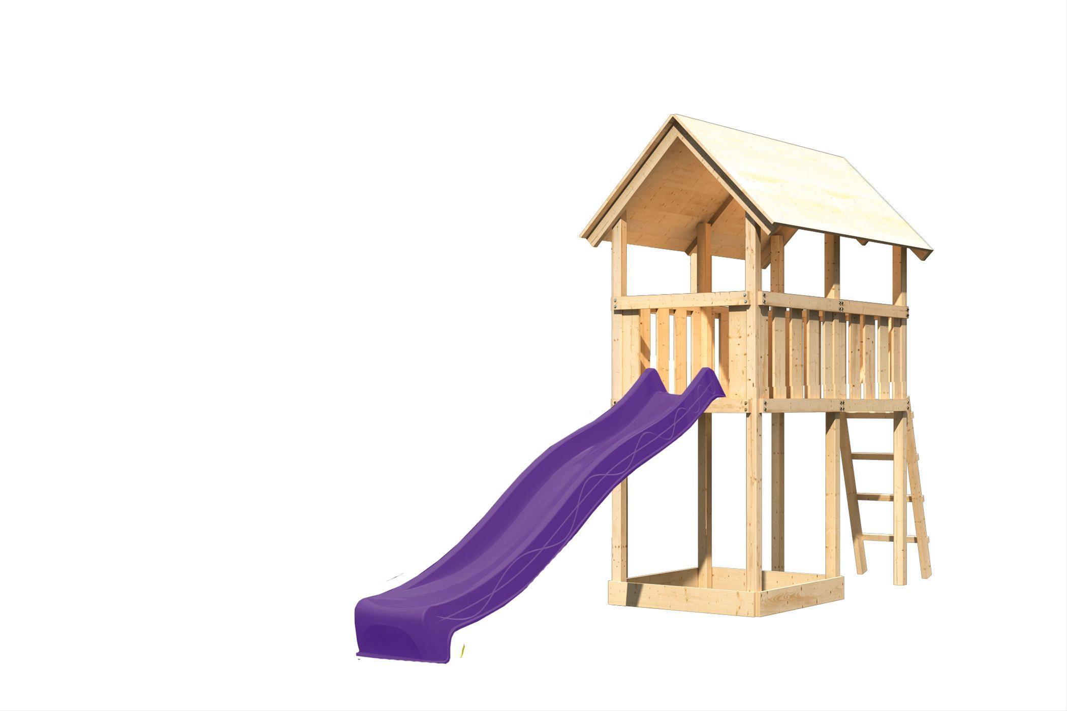 Spielturm / Kletterturm Karibu Akubi Danny SetA Rutsche lila 137x209cm Bild 2