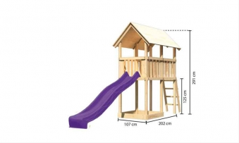 Spielturm / Kletterturm Karibu Akubi Danny SetA Rutsche lila 137x209cm Bild 7