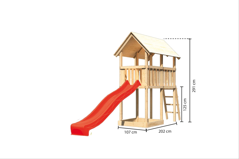 Spielturm / Kletterturm Karibu Akubi Danny SetA Rutsche rot 137x209cm Bild 3