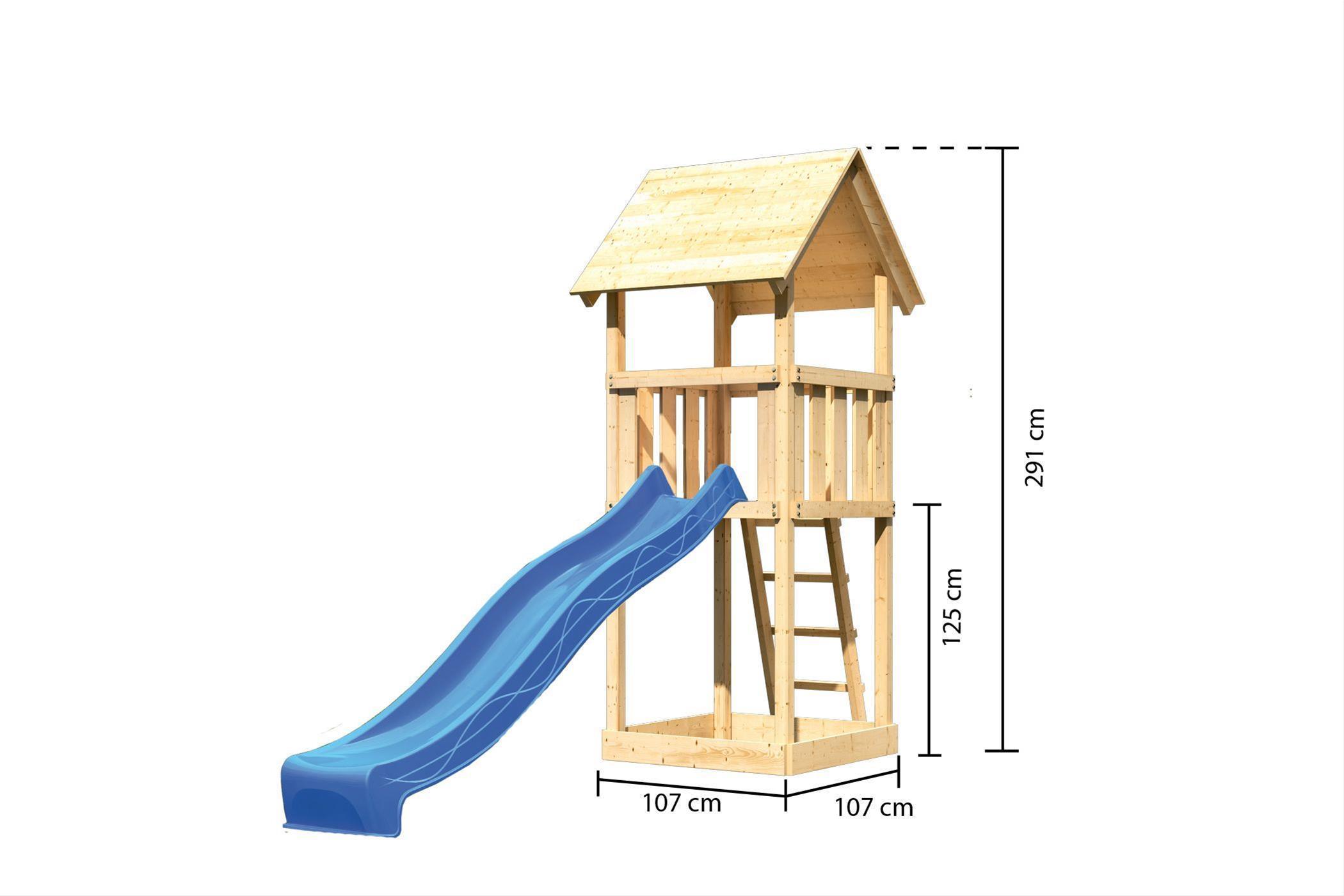 Spielturm / Kletterturm Karibu Akubi Lotti Set A Rutsche blau Bild 3