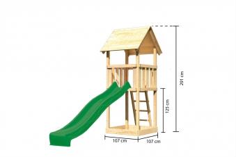 Spielturm / Kletterturm Karibu Akubi Lotti Set A Rutsche grün Bild 3
