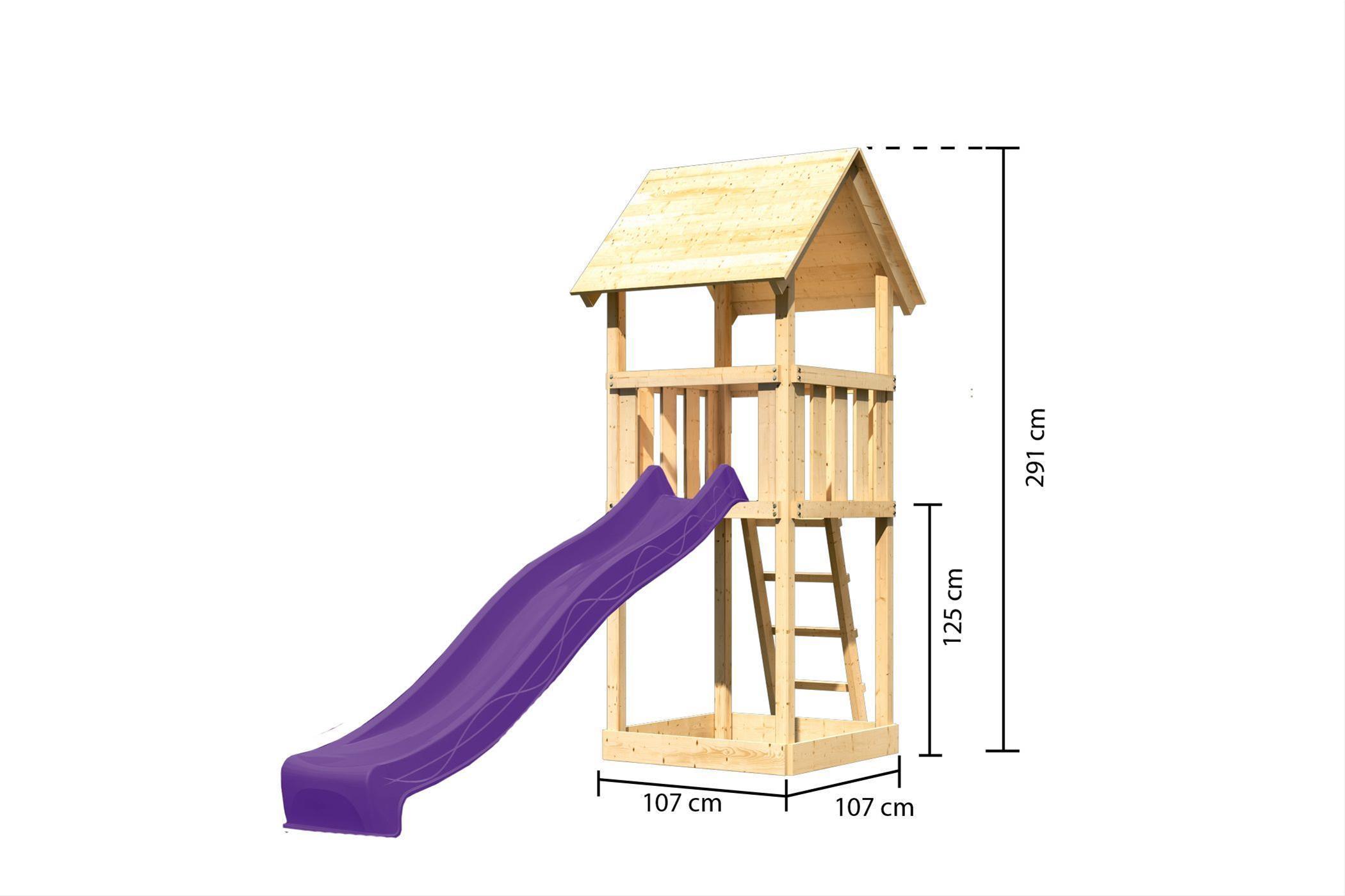 Spielturm / Kletterturm Karibu Akubi Lotti Set A Rutsche violett Bild 3