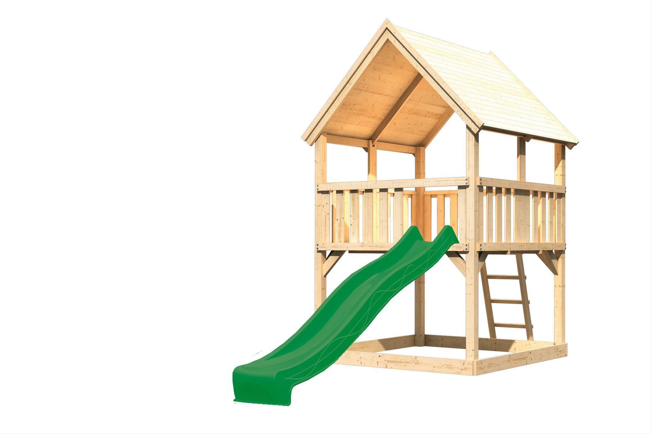 Spielturm / Kletterturm Karibu Akubi Luis Set A Rutsche grün 217x205cm Bild 2