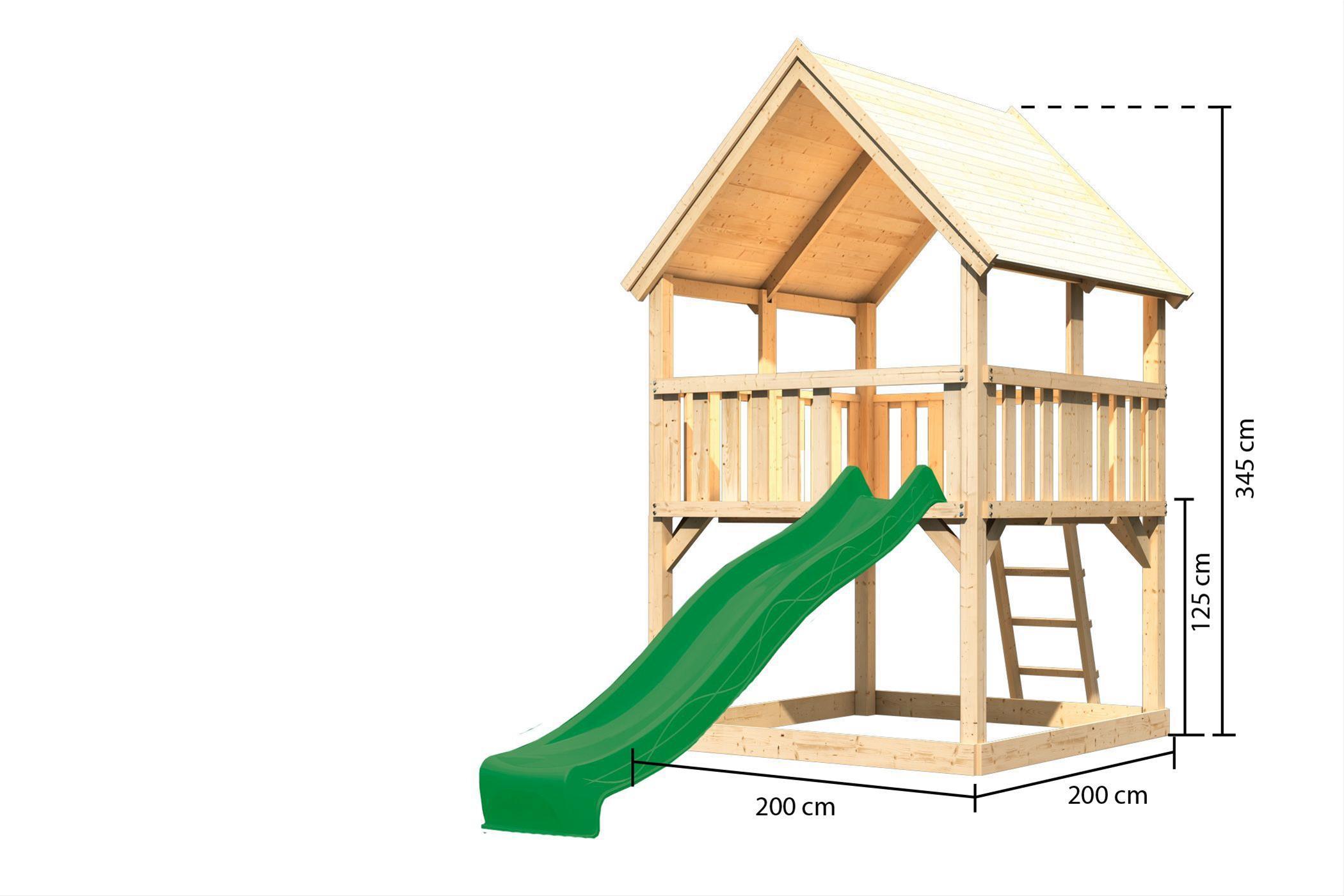 Spielturm / Kletterturm Karibu Akubi Luis Set A Rutsche grün 217x205cm Bild 3