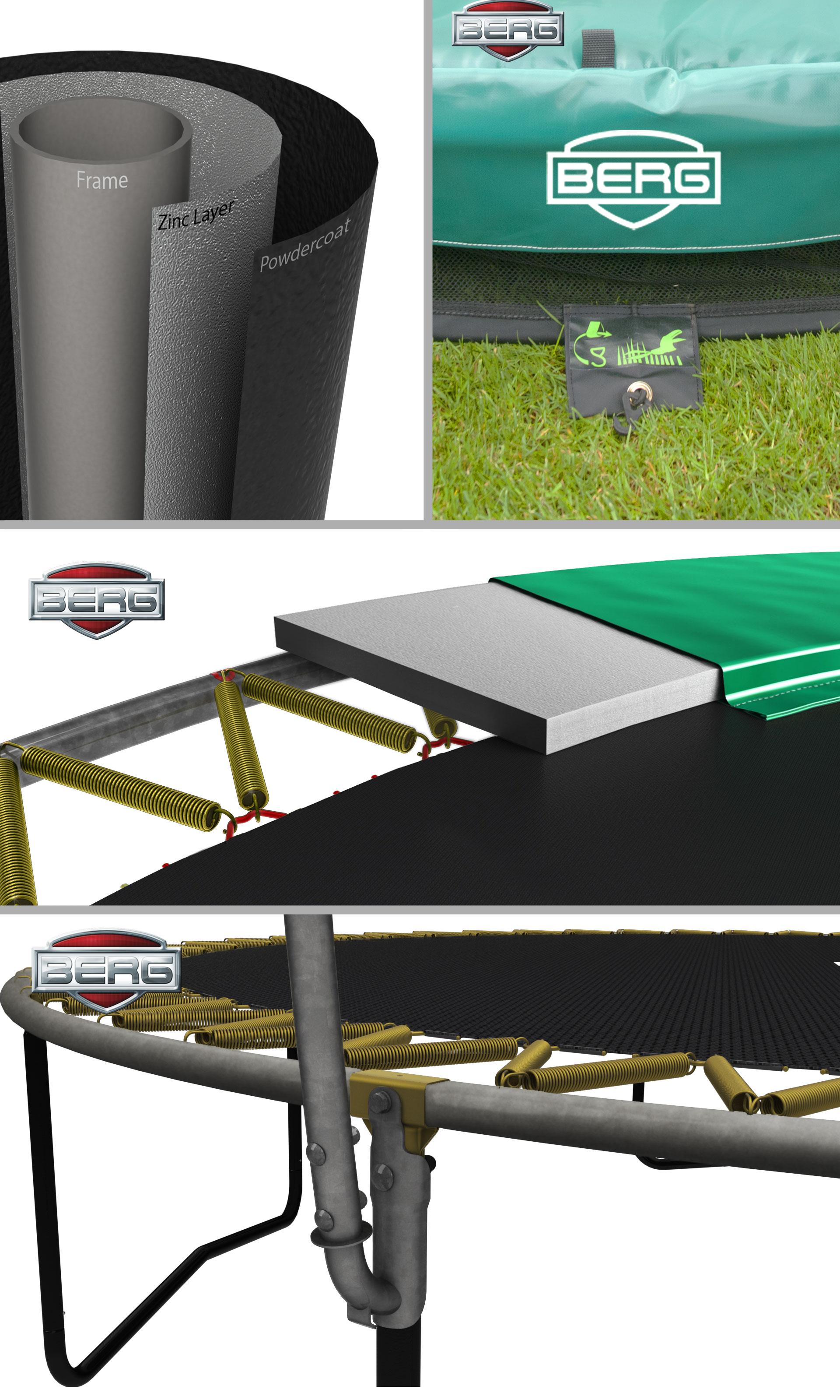Trampolin Elite grün + Sicherheitsnetz Deluxe Ø330cm BERG toys Bild 2