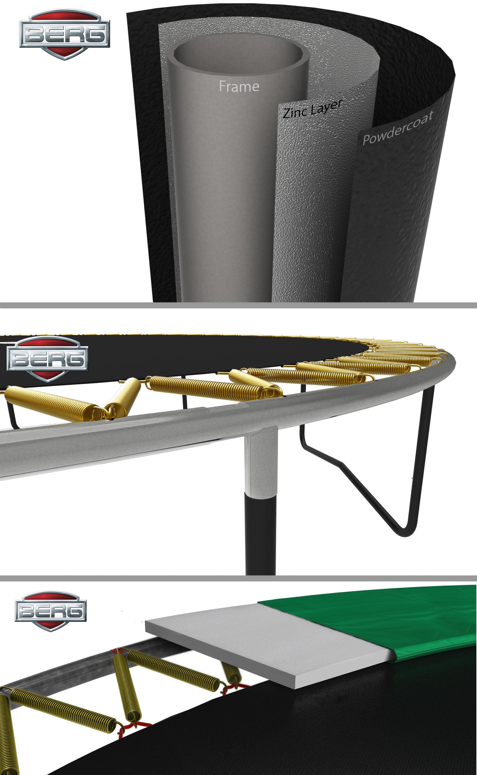 Trampolin InGround Champion EazyFit grün Netz Deluxe 330x220 BERG toys Bild 3