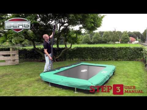 Trampolin InGround Champion EazyFit grün Netz Deluxe 330x220 BERG toys Video Screenshot 2487