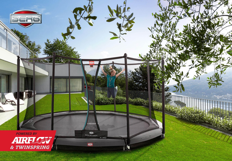 Trampolin InGround Champion grün + Netz Comfort Ø270cm BERG toys Bild 4