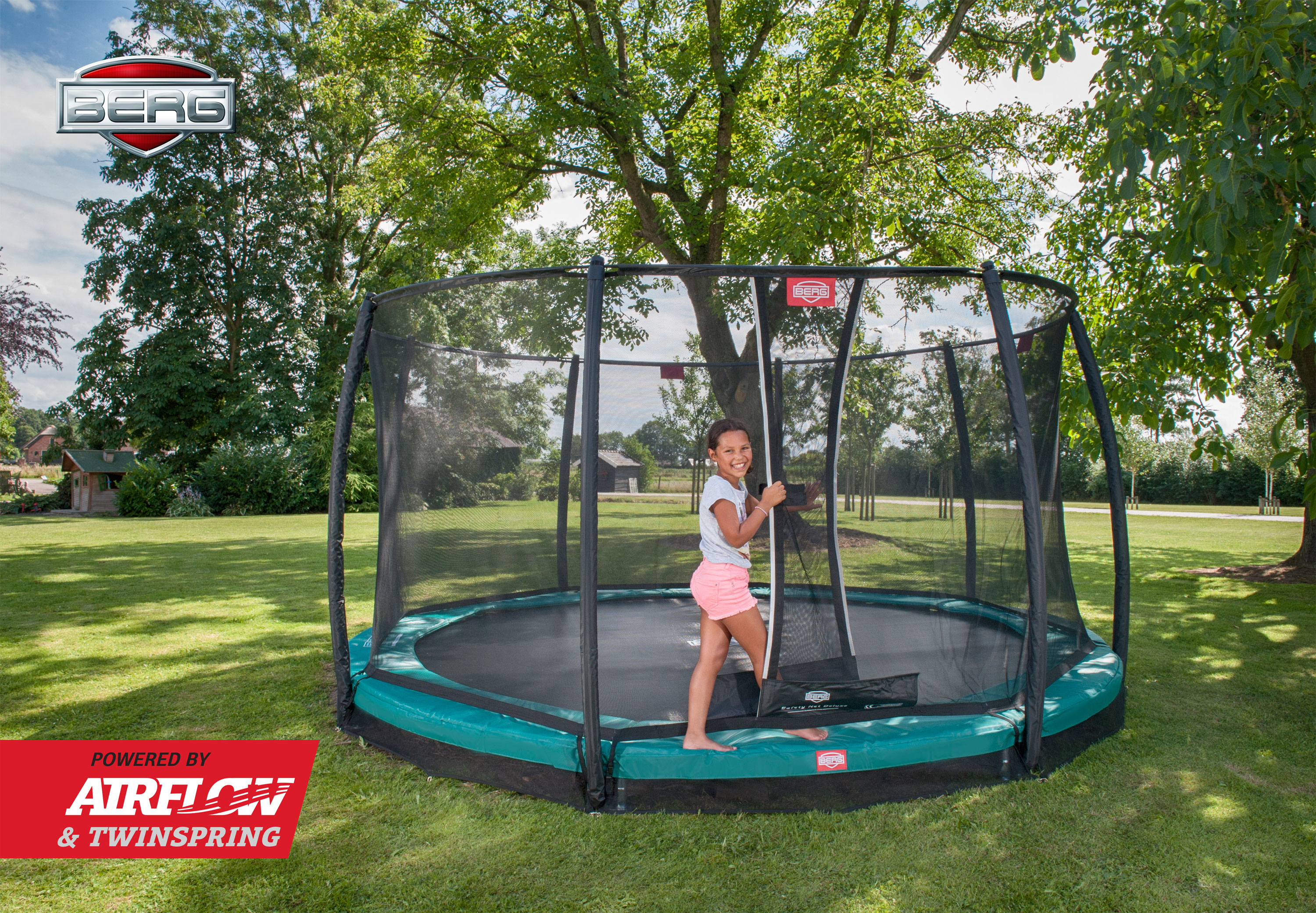 Trampolin InGround Champion grün + Netz Deluxe Ø270cm BERG toys Bild 4