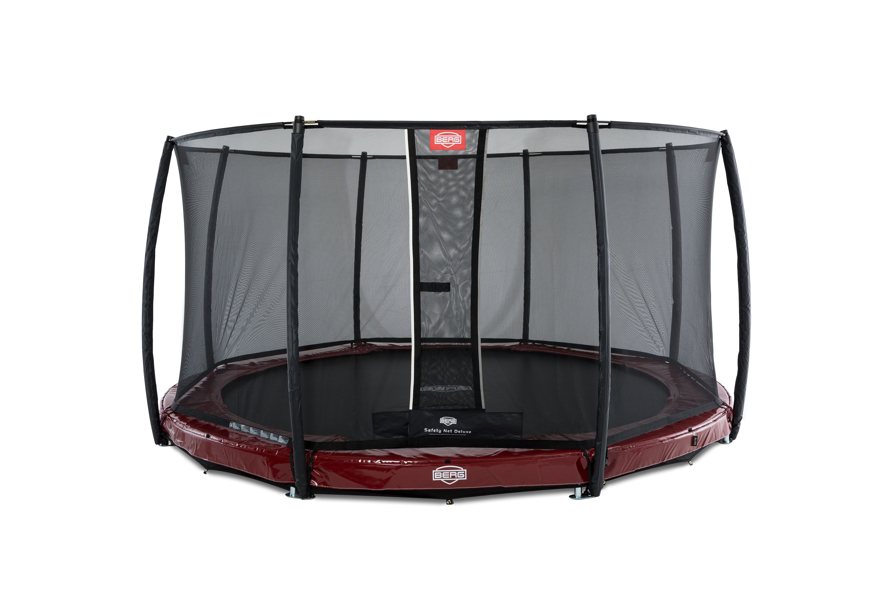 Trampolin InGround Elite rot + Netz Deluxe Ø430cm BERG toys Bild 1