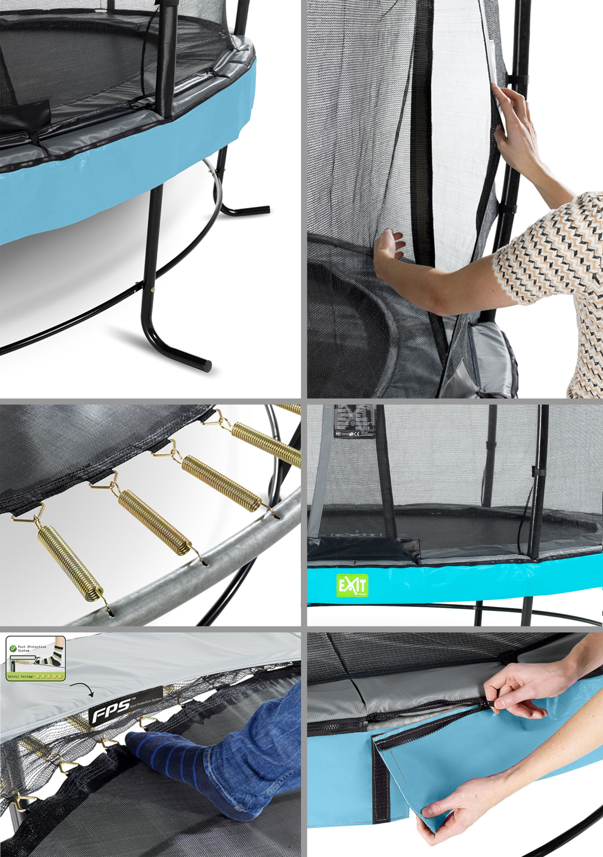Trampolin EXIT Elegant 244x427cm + Sicherheitsnetz Economy schwarz Bild 2