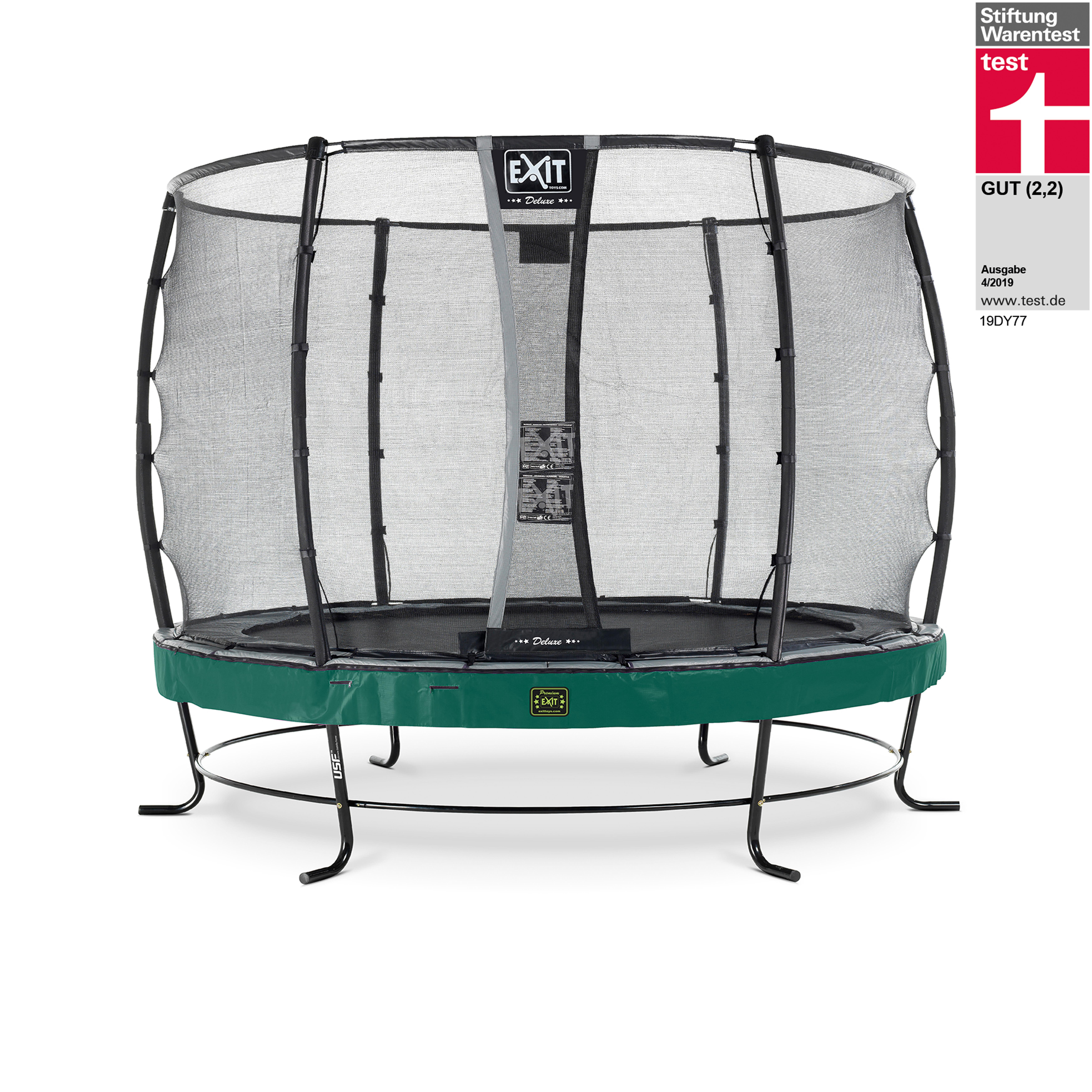Trampolin EXIT Elegant Premium Ø305cm + Sicherheitsnetz Deluxe grün Bild 1
