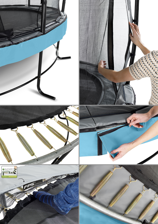 Trampolin EXIT Elegant Premium Ø366cm + Sicherheitsnetz Deluxe blau Bild 2