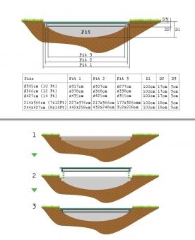 Trampolin EXIT InTerra Ground Level Ø427cm grau Bild 2