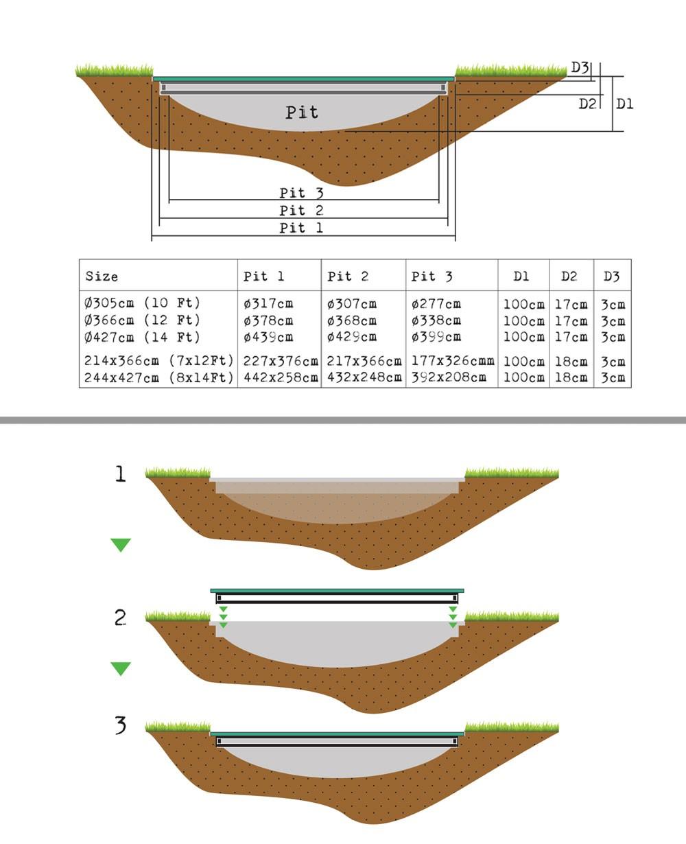 Trampolin EXIT InTerra Ground Level rechteckig 214x366cm grau Bild 2