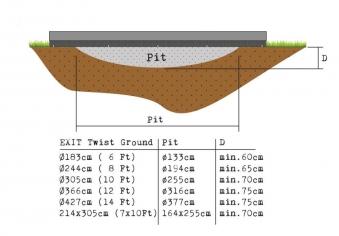 Trampolin EXIT Silhouette Ground mit Sicherheitsnetz Ø244cm schwarz Bild 3