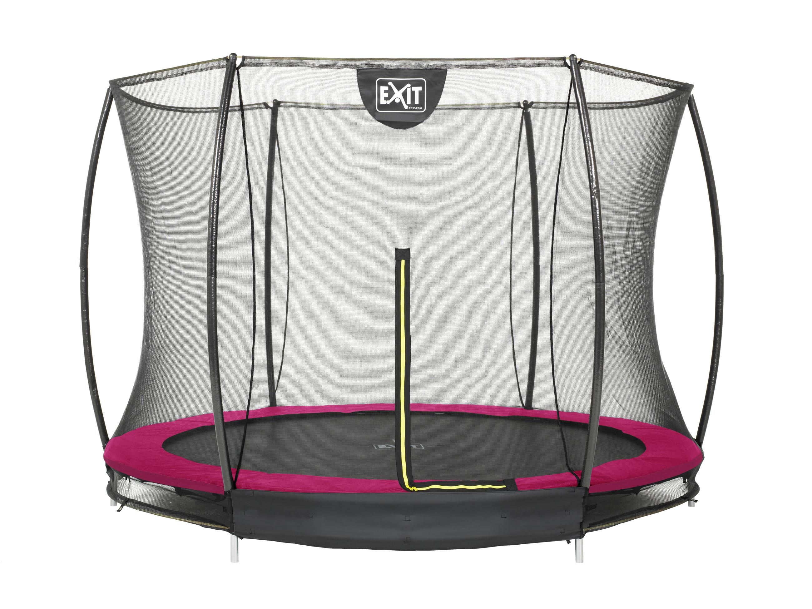 Trampolin EXIT Silhouette Ground mit Sicherheitsnetz Ø305cm Lime pink Bild 1